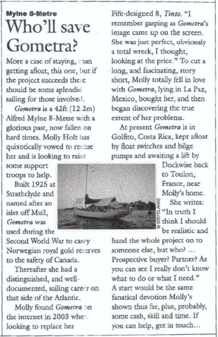 "Article ""Classic Boats"" April 2006 - Gometra1925"